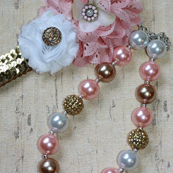 PINK and GOLD, bubblegum chunky necklace set, sequin headband, ott, baby girl, toddler, child, photo prop, stocking, m2m wdw, persnickety