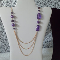 deep transparent purple amethyst color bead gold tone chain layered necklace & earrings set statement modern womens fashion jewelry 32 inch