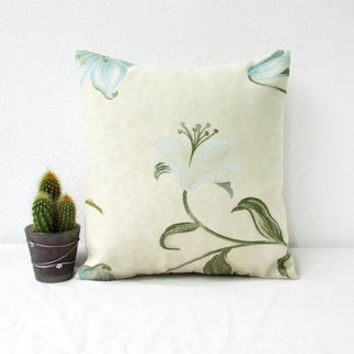Blue floral cushion cover, small 12 inch pillow cover, cream blue designer cushion, British fabric, floral throw pillow, handmade in the UK