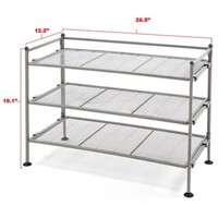 Seville Classics 3-Tier Mesh Utility Shoe Rack in Satin Pewter