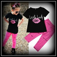 """""""Little Lady"""" Girls Clothing Cotton T shirt Tops Short Sleeve Pants 2PCS Outfit Clothes Set Girl Tracksuit"""