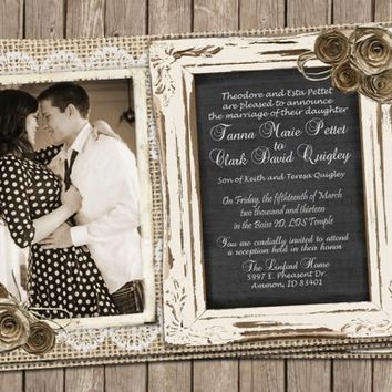 Burlap and Lace Wedding, Invitation, Rustic, Paper Book Roses, Chalk Board, Printable,, Digital File Personalized, 5x7