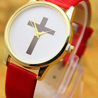 Red Leather Cross Watch