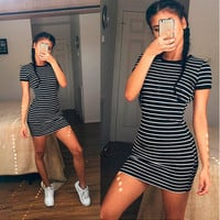 Summer Beach Holiday Stripes Printed Round Necked Short Sleeve Casual Party Playsuit Clubwear Bodycon Boho Dress