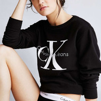 """""""Calvin Klein"""" Women Fashion Casual Letter Print Loose Long Sleeve Sweater"""