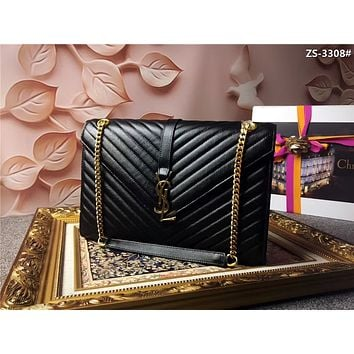 YSL SAINT LAURENT WOMEN'S 2018 HOT STYLE LEATHER INCLINED CHAIN SHOULDER BAG