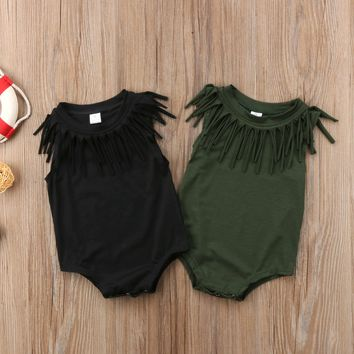 2018 Baby Girls Boy Cute Sleeveless Toddler Black Green Tassel Clothes Jumpsuit Bodysuit Casual Novelty Summer Outfits
