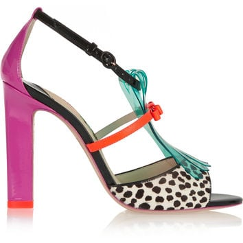 Sophia Webster - Verity patent-leather, polka-dot calf hair and vinyl sandals