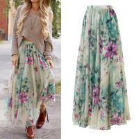 Women Chiffon Vintage Women Long Maxi Skirt women Summer Pleated Floral Printed Women Flared Saias Vestidos SunDress Beach