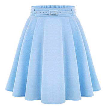 Light Blue High Waist Silky Skater Skirt With Belt