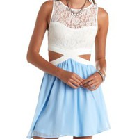 Color Block Cut-Out Skater Dress by Charlotte Russe - Lt Blue Combo