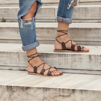 Lace up sandals - Dark Brown Leather Laceups - Black Leather Lace ups - Gladiator Sandals - 9 Colors