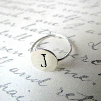 Sterling Silver Hand Stamped Initial Ring by lakeshorelavaliere