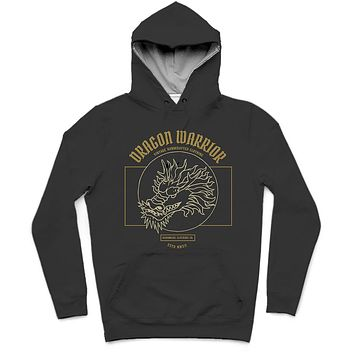 Dragon Warrior Trendy All-Over Print Solid Night Rider Hoodie