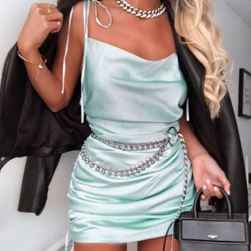 Summer new women's satin suspender dress