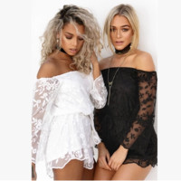 Fashion Casual Solid Color Embroidery Lace Perspective Off Shoulder Long Sleeve Shorts Jumpsuit