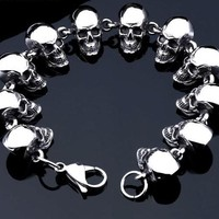 Superior Stainless Cool Men's Steel High Quality Punk Skull Bracelet for Men's by Ritzy