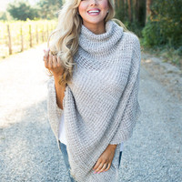 Never Enough Knit Button Poncho Taupe