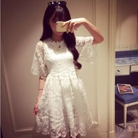 Short Sleeve High Waist White Lace Dress