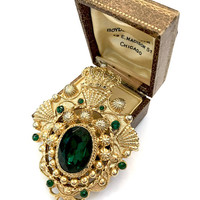Heraldic Gold Tone Brooch, Emerald Green Foil Back Center Stone, Etruscan Style Metal Work, Dimensional Statement Pin, Vintage Gift for Her