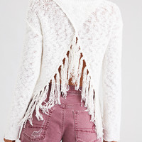 AE Open Back Fringe Pullover Sweater, Cream