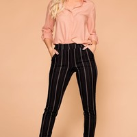 Hustle Black Striped Trouser Pants