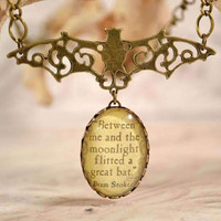 Vampire Bat Necklace, Classic Dracula Quote, Glass Drop Word Necklace, Halloween Jewelry