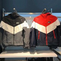 NIKE Fasion Contrast  V Type Windrunner Sports Jacket