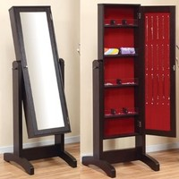 Cheval Cappuccino Finish Mirror with Jewelry Holder