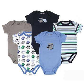 Summer 5 pcs/lot Baby Clothes Baby Romper O-Neck 100%Cotton Cute Styles born Baby Boys girls Clothes Baby Overall