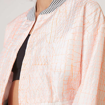 Without Walls Katey Embroidered Parachute Cropped Bomber Jacket - Urban Outfitters