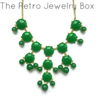 ready to ship dark green Bubble j crew inspired bib statement necklace couture wedding christmas