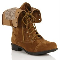 Camel Suede Military Lace Up Boot