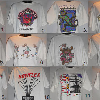 VIntage 80s 90s Lot of T Shirts Vacation Souvenir New York Mexico Bahamas Grand Canyon Boston Bowflex Florida Costa Rica Twin Towers