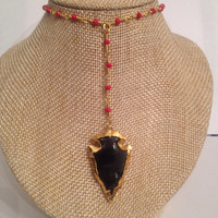 RED Rosary Chain  with BLACK Arrowhead Pendant