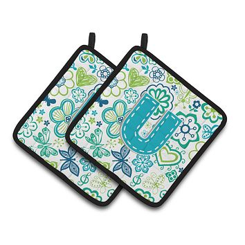Letter U Flowers and Butterflies Teal Blue Pair of Pot Holders CJ2006-UPTHD