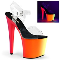 "Rainbow UV 7.5"" High Heel Platform Dance Shoes Clear Ankle Strap Size 8"