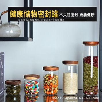 The Kitchen With Glass Jar Storage Jar Of Acacia Wood Covered With Cover Tea Tea Pot Grain Sealed Boxes