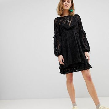 Free People Ruby Lace Dress with Tie Sleeves at asos.com