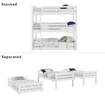 Kids Unique Twin Over Twin Triple Convertible Small Space Saving Bunk Bed