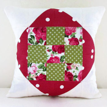 Patchwork pillow cover, pink roses cushion cover, small quilted cushion, pink green home decor, handmade in the UK