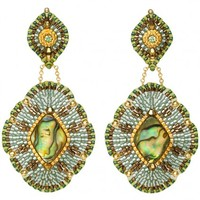 Abalone and Green Jade Earrings - Miguel Ases - Designers | 30PonteV.com