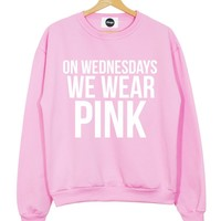ON WEDNESDAYS WE WEAR PINK SWEATER JUMPER T SHIRT TOP MEAN GIRLS YOU CANT SIT