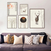 Modern Abstract Deer and Forest A4 Art Print Poster Mural in Canvas Painting wall Pictures for Living Room Bedroom Home Decor
