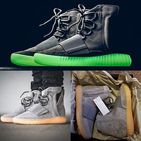 2017 New Kanye West 750 Boost Light Grey Glow in the dark 750 Glow Dark Women and Men Shoes Boots Ankle Boots size 36-46
