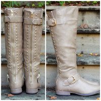 SZ 5.5 Land Explorer Taupe Studded Zipper Boots