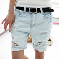 Hot sale 2016 Fashion Dog Embroidery Pocket Ladies Jeans Vintage Trousers Women Hole Denim Short Pants S/M/L/XL Free Shipping