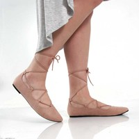 Charles Albert Lace Up Ballet Flats in Nude G-FARRAH-NUDE
