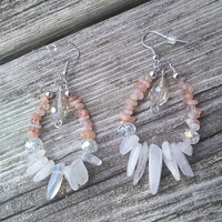 Moonstone Sunstone Earrings, Real Healing Crystals, Crystal Earrings, Crystal Jewelry, Gypsy Boho earrings, Wiccan Jewelry, Pagan earrings