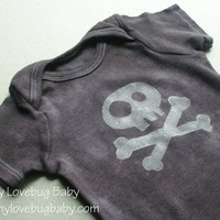 Skull and Crossbones Onesuit  Hand Dyed & Painted by MyLovebugBaby